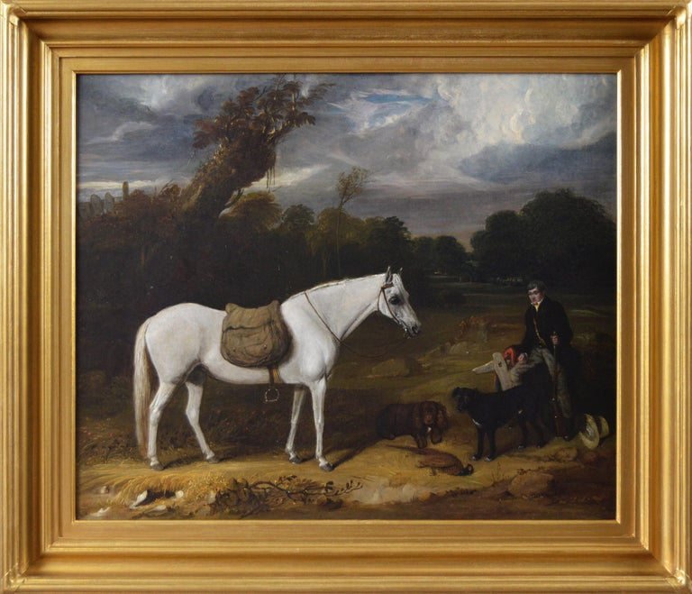 William Smith (act. 1813-1859) Animal Painting - Early 19th Century sporting oil painting of a gamekeeper with a horse & dogs