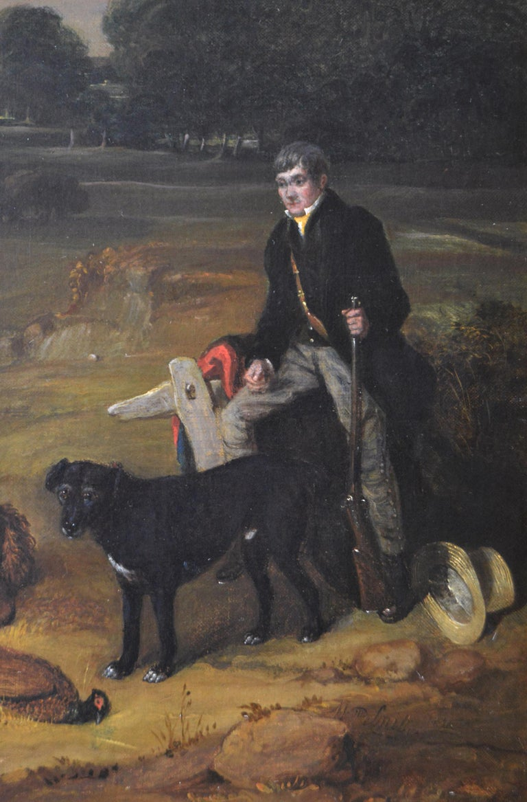 Early 19th Century sporting oil painting of a gamekeeper with a horse & dogs  - Brown Animal Painting by William Smith (act. 1813-1859)