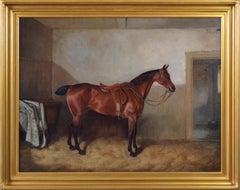 19th Century sporting horse portrait oil painting of a bay hunter in a stable