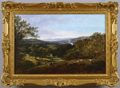 19th Century landscape oil painting near Buckland, with the Malvern Hills beyond