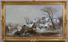 19th Century winter landscape oil painting of a village