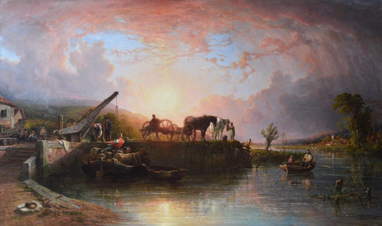 Large scale 19th Century river landscape oil painting of a wharf at sunset  - Painting by John Frederick Tennant