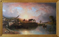 Large scale 19th Century river landscape oil painting of a wharf at sunset