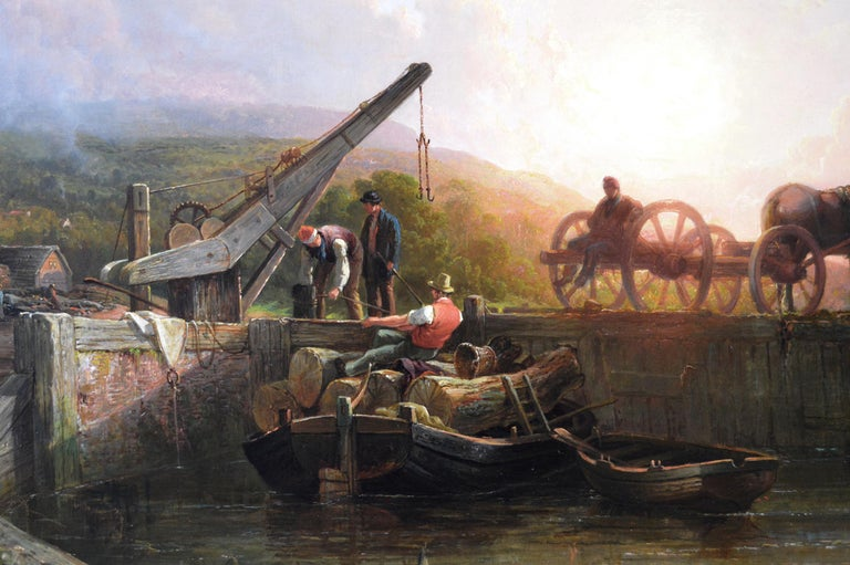 Large scale 19th Century river landscape oil painting of a wharf at sunset  - Victorian Painting by John Frederick Tennant