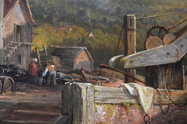 Large scale 19th Century river landscape oil painting of a wharf at sunset  For Sale 2