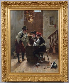 19th Century genre historical oil painting of men playing cards