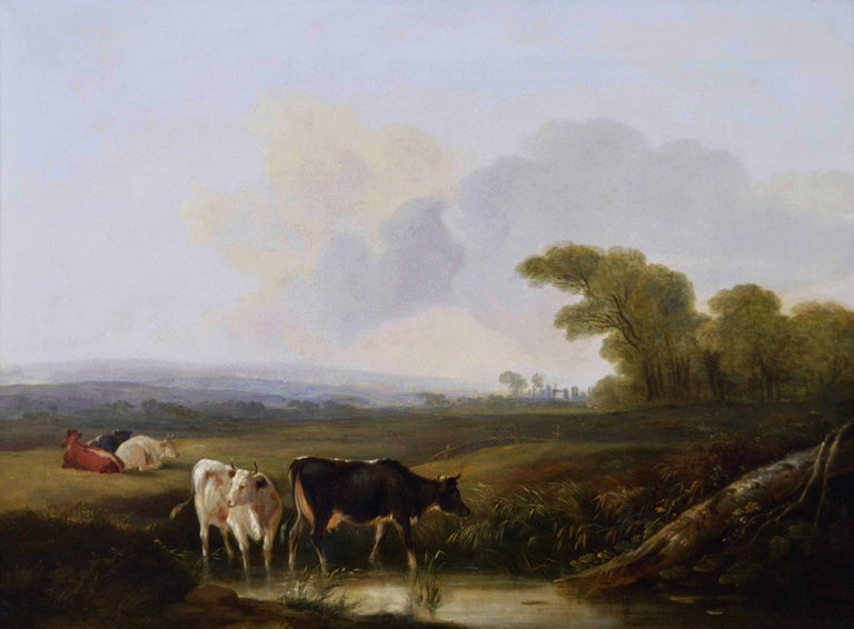 Early 19th Century landscape oil painting of cattle by a river  - Painting by Edmund Willis
