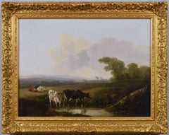 Early 19th Century landscape oil painting of cattle by a river