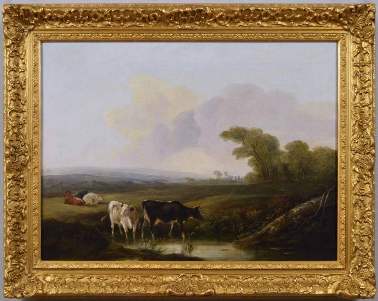 Edmund Willis Landscape Painting - Early 19th Century landscape oil painting of cattle by a river