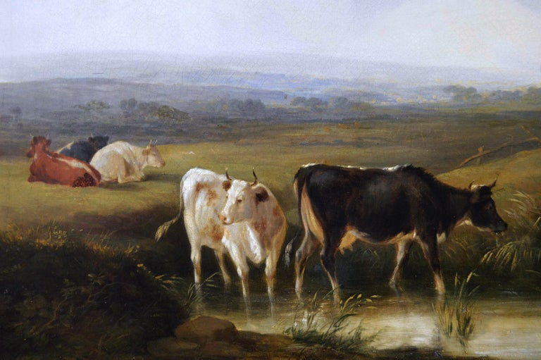 Early 19th Century landscape oil painting of cattle by a river  - Victorian Painting by Edmund Willis