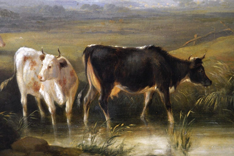 Early 19th Century landscape oil painting of cattle by a river  - Brown Landscape Painting by Edmund Willis