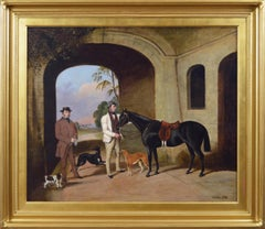 19th Century sporting oil painting of a gentleman with his groom, horse and dogs