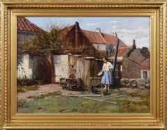 19th Century genre oil painting of a girl feeding chickens