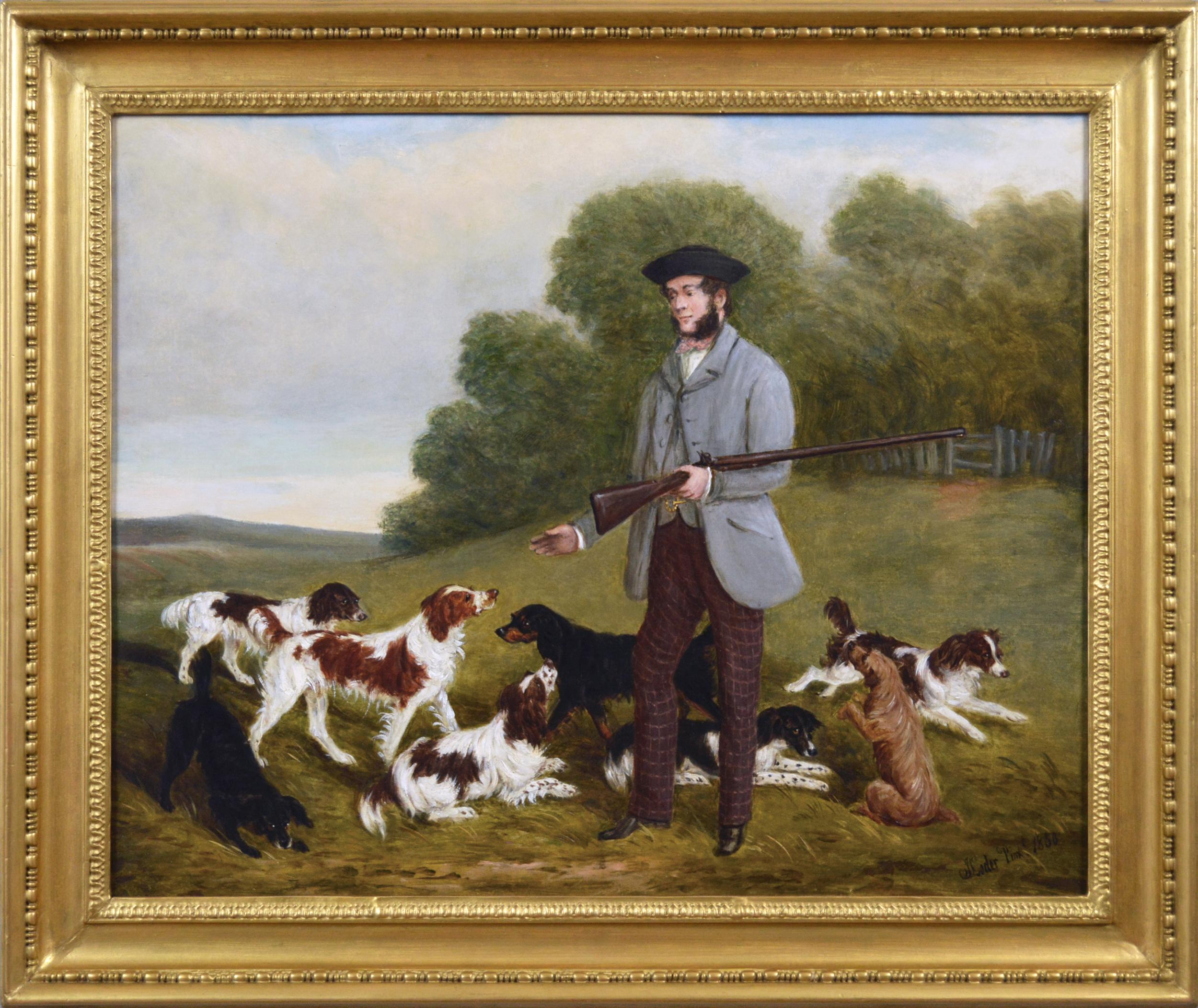 19th Century sporting oil painting of a gamekeeper with dogs