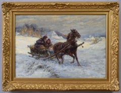 Winter landscape oil painting of a horse and sleigh