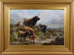 19th Century landscape oil painting of Highland cattle by a stream