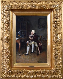 19th Century historical genre oil painting of a gentleman scientist