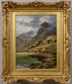 19th Century Highland landscape oil painting of cattle at Loch Leven