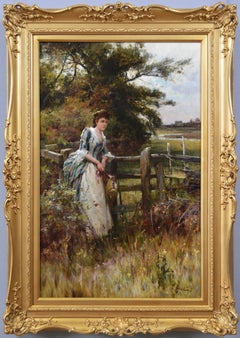 19th Century genre oil painting of a young woman in a meadow