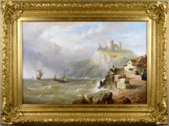 19th Century seascape oil painting of of ships off Criccieth Castle, North Wales