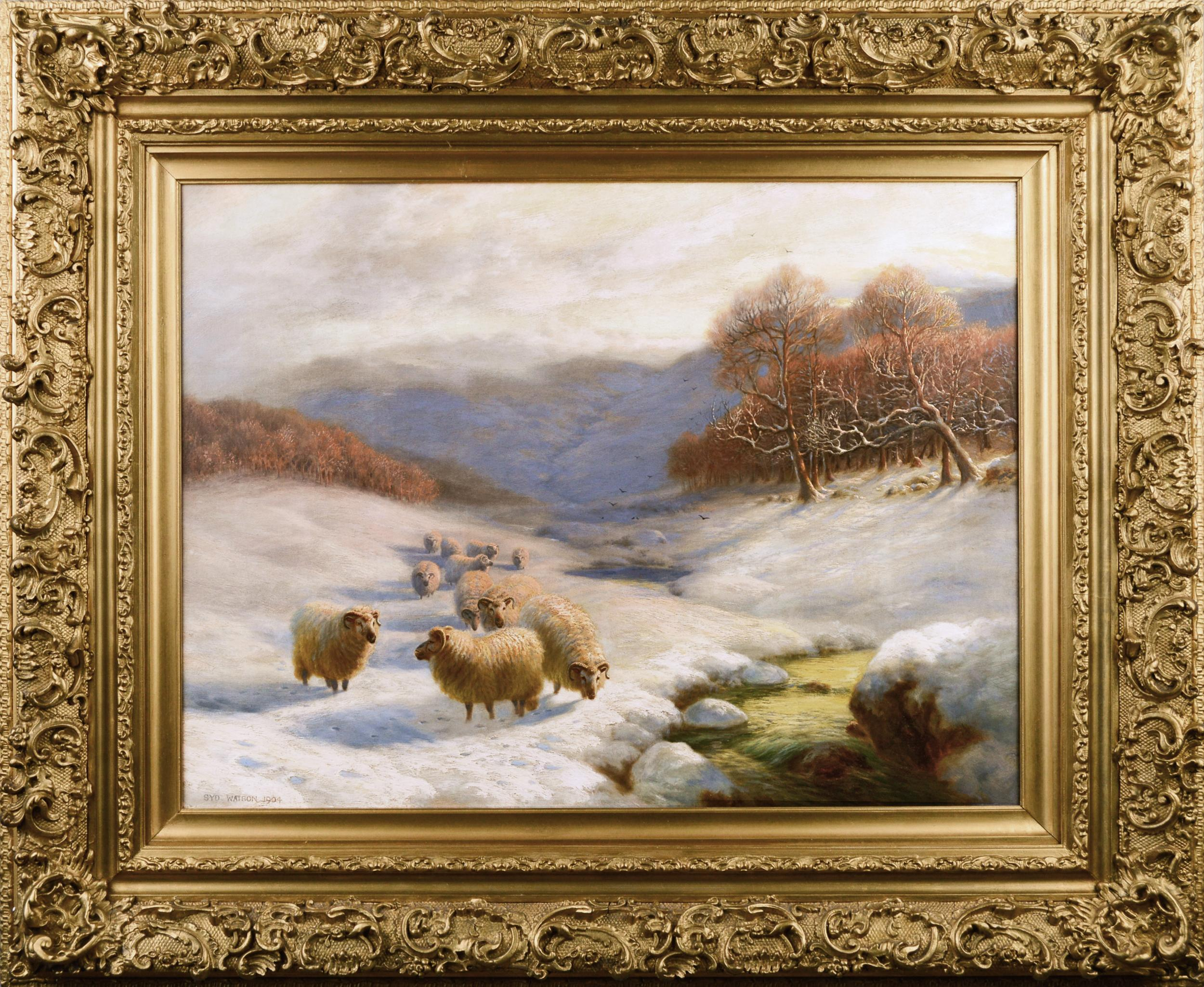 Scottish winter landscape oil painting with sheep