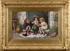 19th Century genre oil painting of three children
