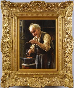 19th Century genre oil painting of a blacksmith