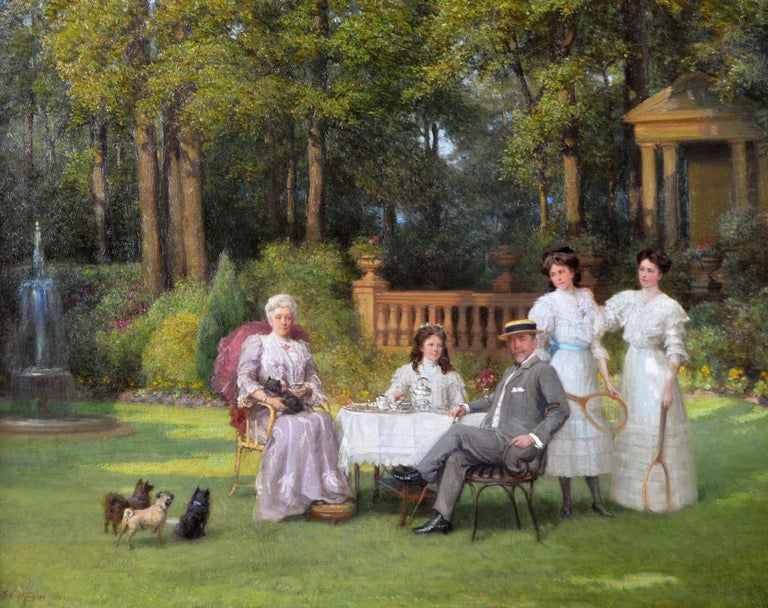 Portrait oil painting of a family taking tea in a garden  - Painting by Talbot Hughes