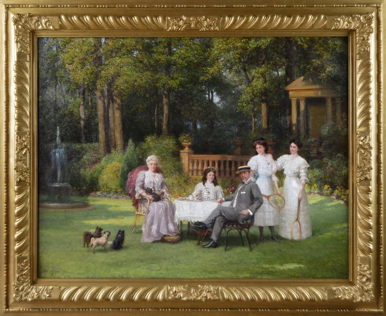 Talbot Hughes Figurative Painting - Portrait oil painting of a family taking tea in a garden