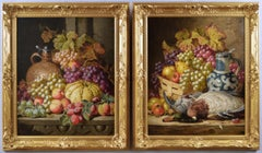 Pair of still life oil paintings of fruit and game