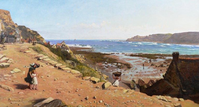 19th Century coastal seascape oil painting of Runswick Bay, Yorkshire  - Painting by Frederick George Cotman
