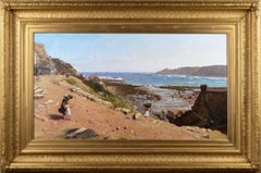 19th Century coastal seascape oil painting of Runswick Bay, Yorkshire