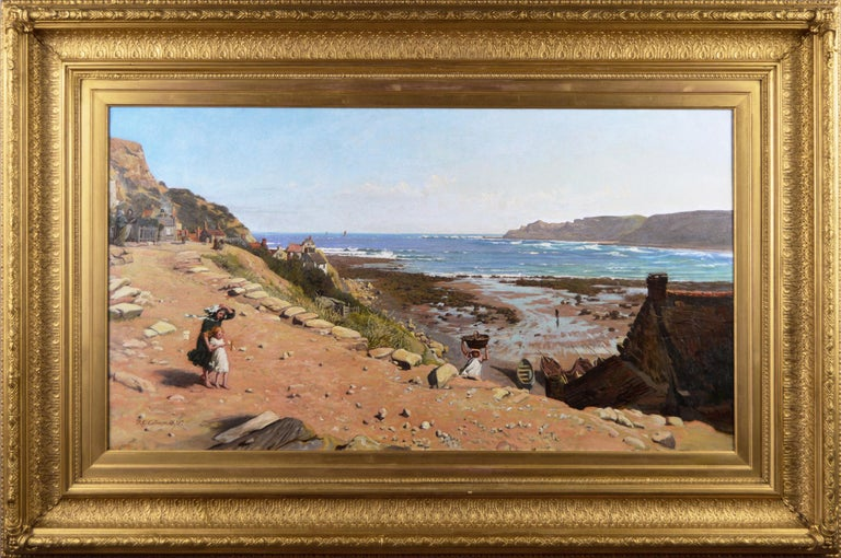 Frederick George Cotman Landscape Painting - 19th Century coastal seascape oil painting of Runswick Bay, Yorkshire