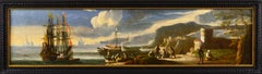 17th Century seascape oil painting of a harbour with ships