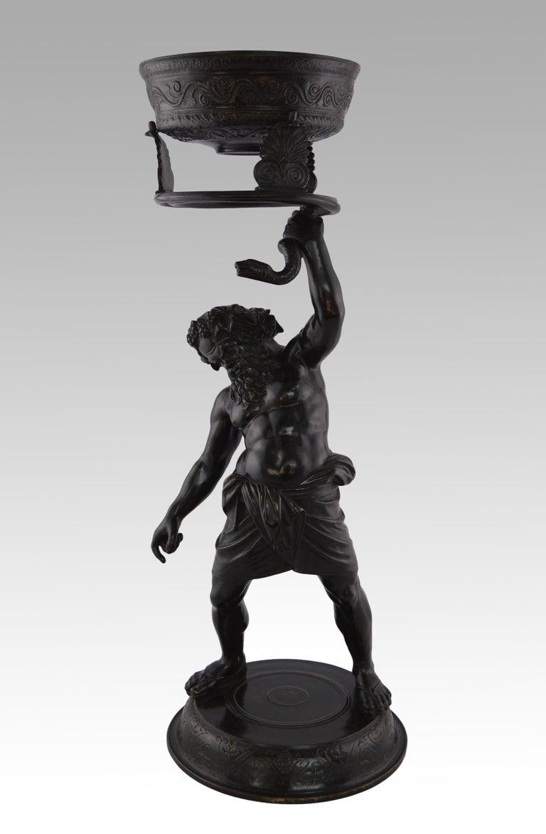 19th Century Italian Grand Tour bronze sculpture of Silenus - Sculpture by Italian Grand Tour