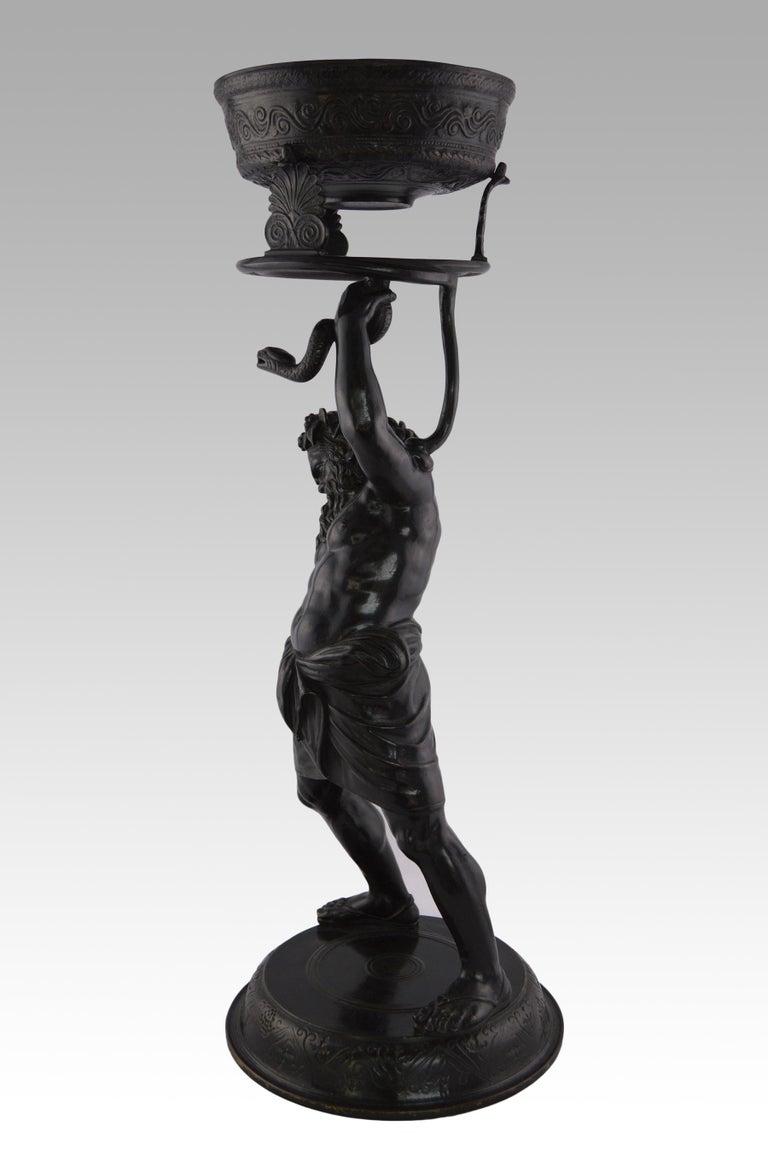19th Century Italian Grand Tour bronze sculpture of Silenus - Gold Figurative Sculpture by Italian Grand Tour