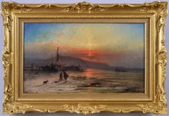 19th Century seascape oil painting of fishing boats by a shore
