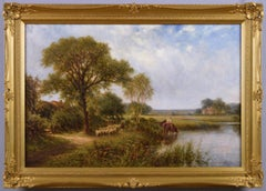 19th Century landscape oil painting of horses & sheep at a river