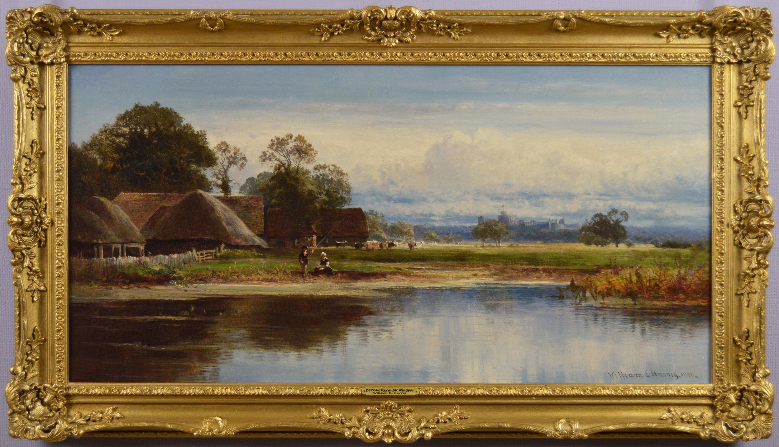 19th century landscape oil painting of a farm with Windsor Castle beyond
