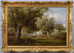 19th Century landscape oil painting of deer in a wood
