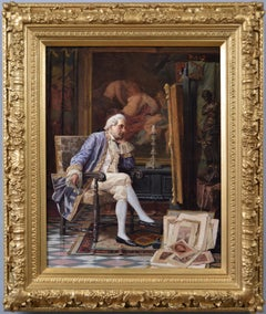 19th Century historical genre oil painting of a gentleman art collector