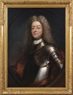 18th Century portrait oil painting of a man in armour