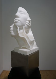"""White Marble&Stainless Sculpture """"Faces No1"""", 2019"""