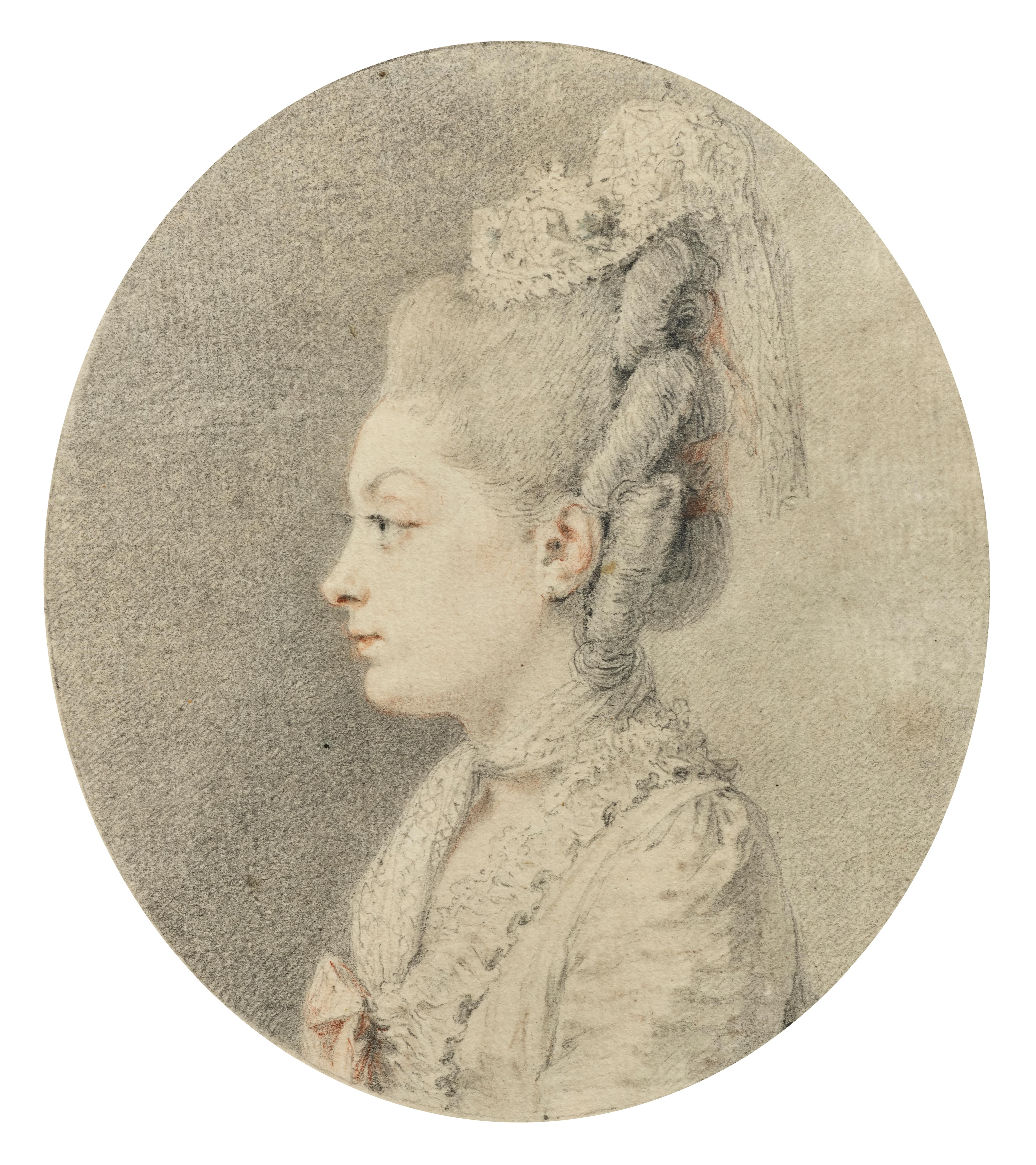 Portrait of a Lady, Drawing Signed and Dated by Augustin de Saint-Aubin