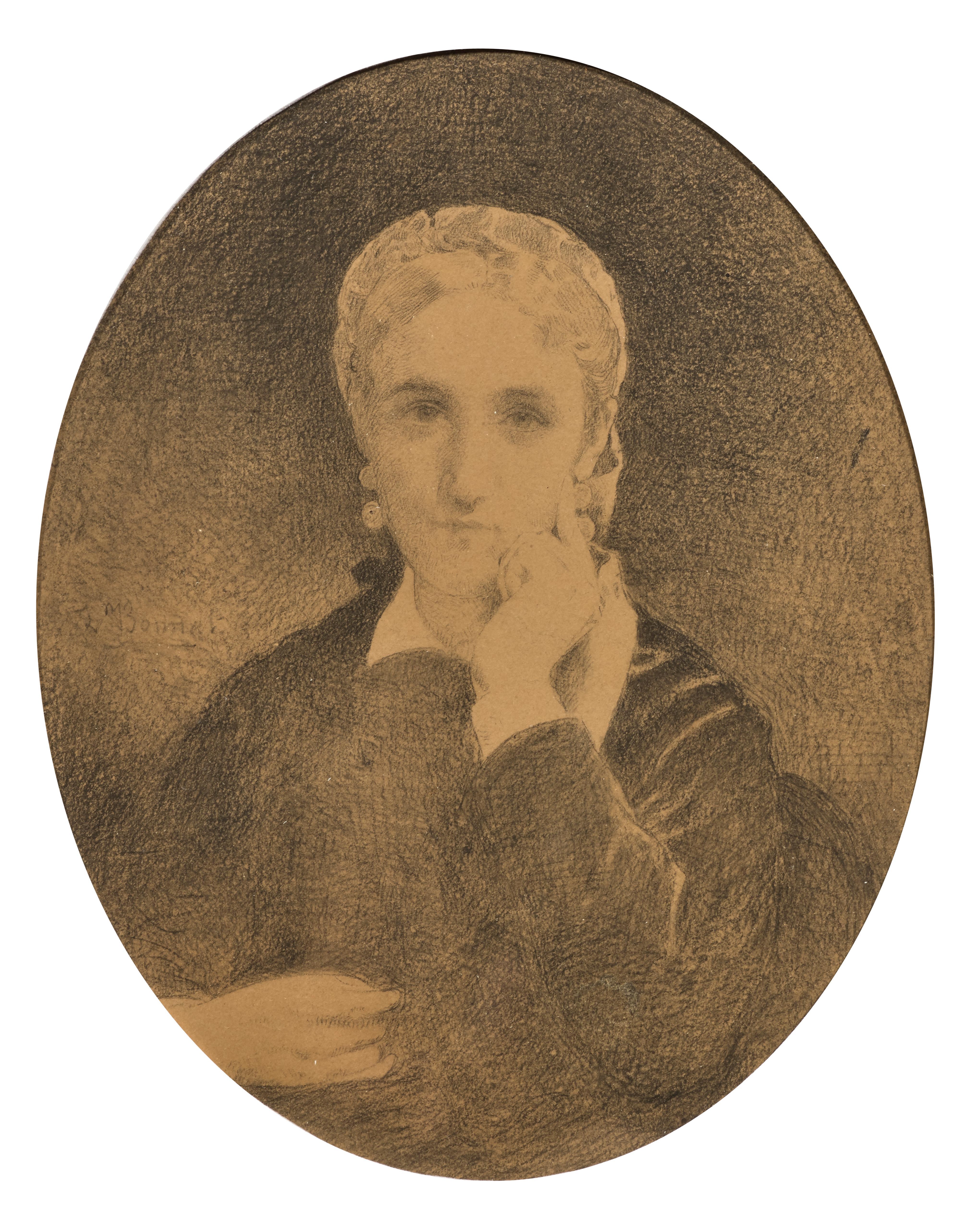 Portrait of a Melancholic Woman, a Drawing signed by Léon Bonnat
