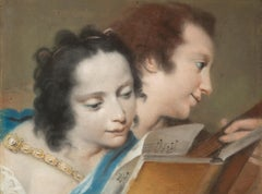 Attributed to Rosalba Carriera : Portrait of Faustina Bordoni with a Musician