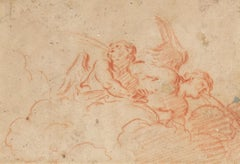 Two Angles blowwing a red chalk drawing by Charles de La Fosse (ceiling study)