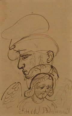 Paul Gauguin with an Angel Drawing by Emile Bernard - Pont-Aven, 1888