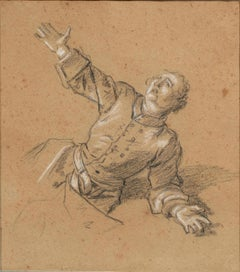 Soldier Begging for Mercy. Preparatrory Drawing by Jean-Marc Nattier 1717