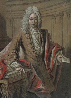 Portrait of a Man Holding a Letter Drawing by Jean-Baptiste Oudry - 18th century